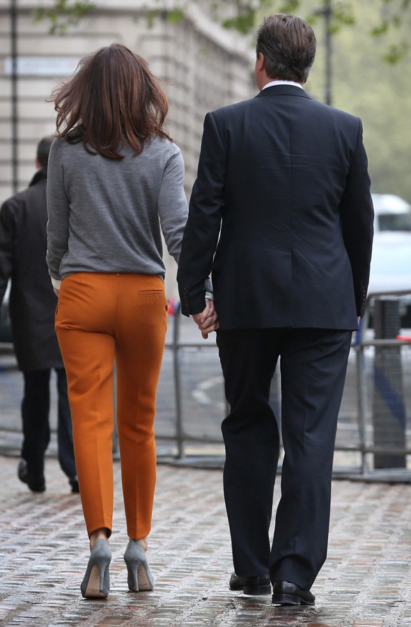 Samantha Cameron and David Cameron leaving their polling station in westminster