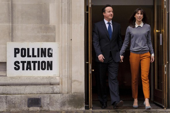 David and Samantha Cameron at the Polling Station
