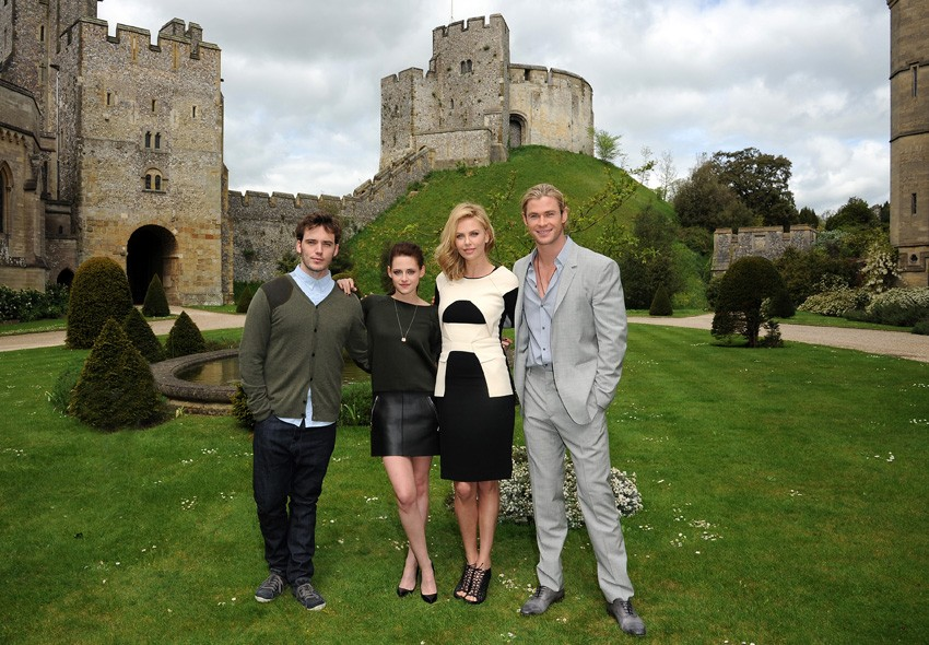Sam Claflin, Kristen Stewart, Charlize Theron and Chris Hemsworth at the Arundel Castle photo call