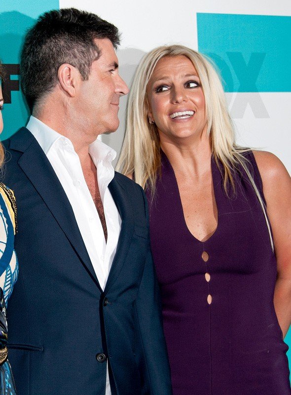 Simon Cowell and Britney Spears at the X Factor USA photo call