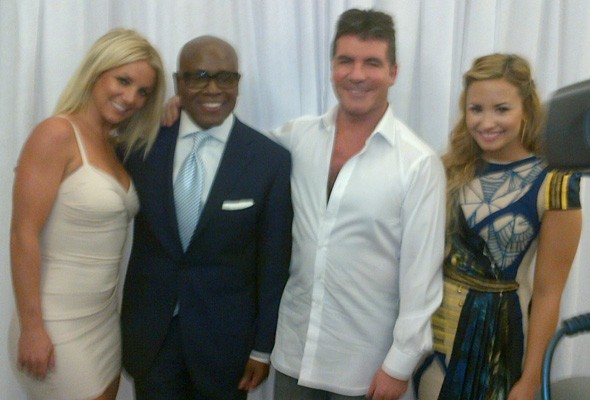 LA Reid, Demi Lovato, Simon Cowell and Britney Spears at the X Factor USA photo call