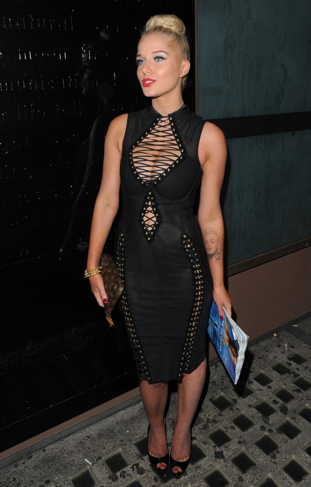 Vamp! Helen Flanagan Channels Bondage Style For FHM Party