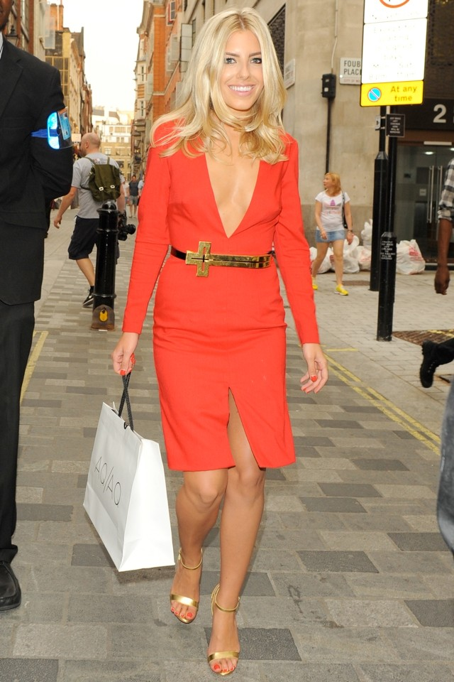 Scarlet Fever! Mollie King Wows In Plunging Red Dress At Fashion Launch