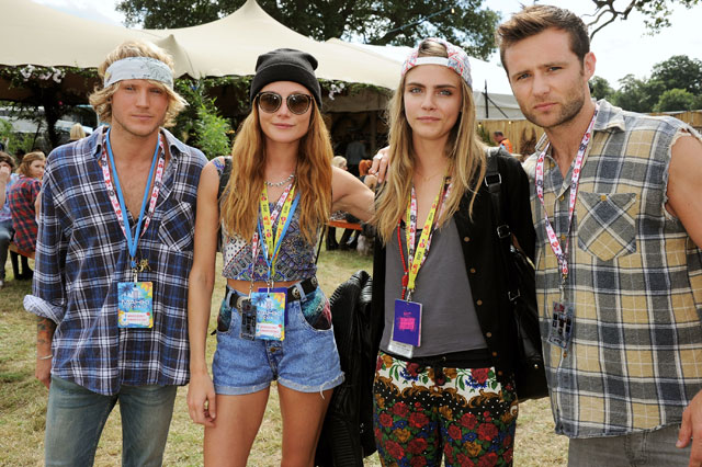 cara delevingne hangs out with mcfly at v festival
