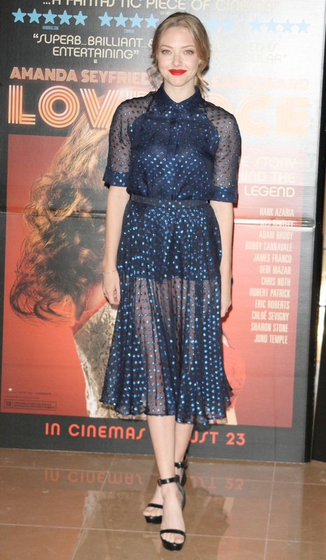 Get Shirty! Amanda Seyfried Wows In Peekaboo Shirt Dress At Lovelace London Screening