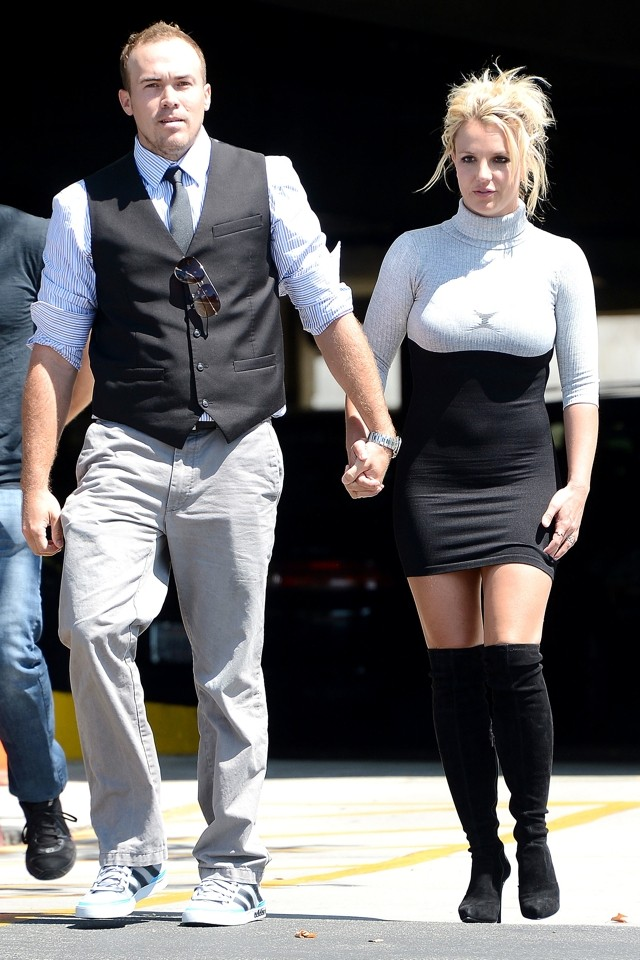 Britney Spears Wears Skintight Minidress And Over-Knee Boots To CHURCH