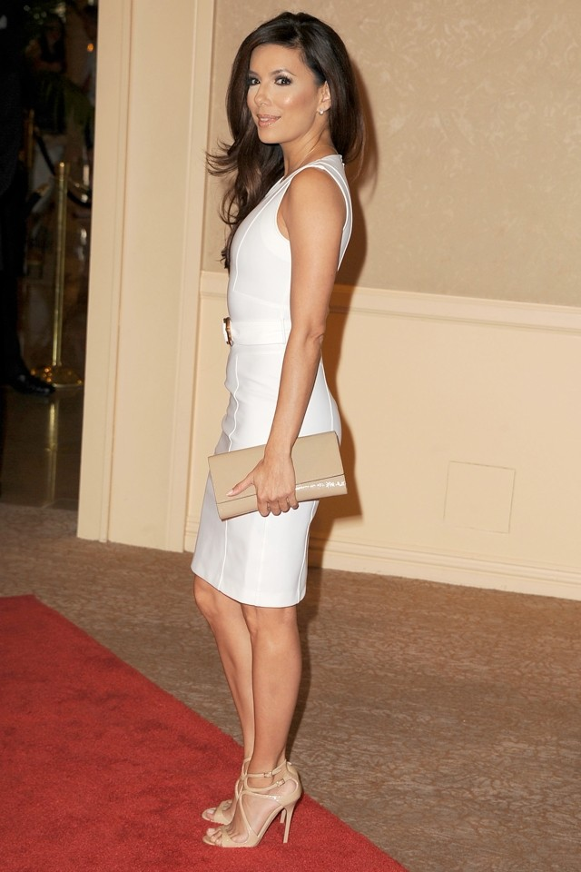 White Night! Eva Longoria Is Heavenly At HFPA Installation Luncheon 2013