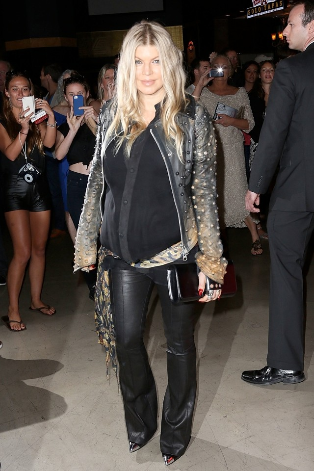 Fergie Does Leather-Clad Rock Chick Baby Bump At Scenic Route Premiere