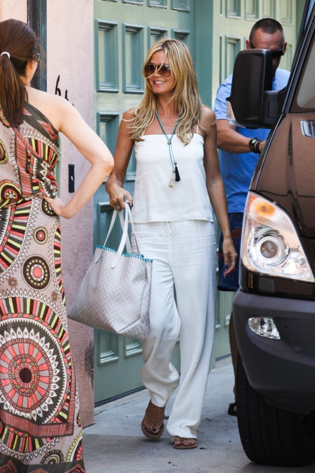 Heidi Klum Shows Off All-White Summer Style - Sans Bra