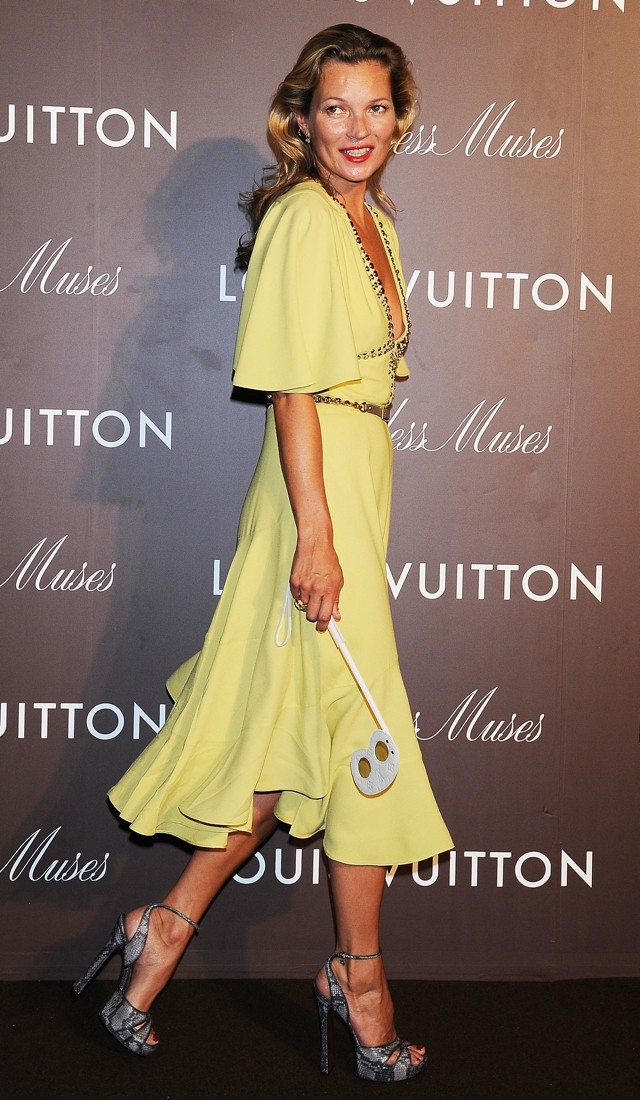 She's Still Got It! Kate Moss WOWS In Yellow Cocktail Dress At Louis Vuitton Exhibition