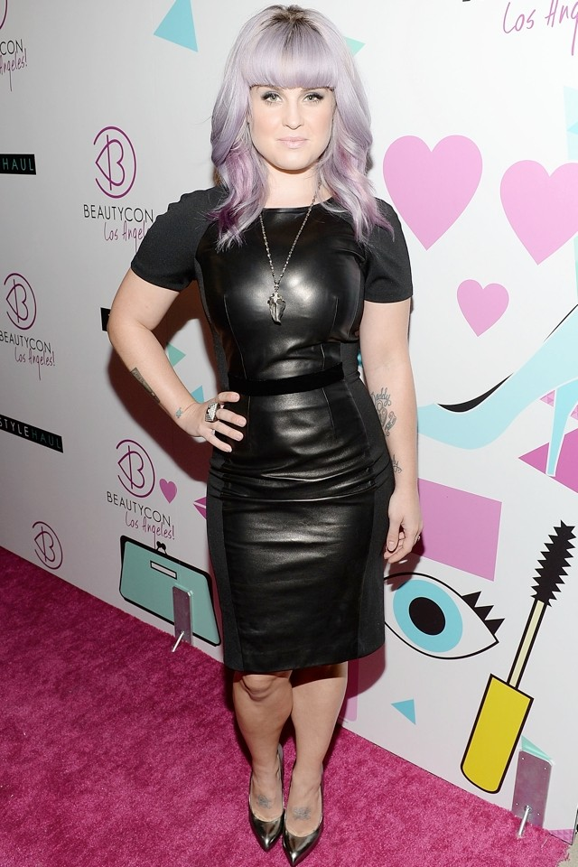 Bang-ing! Kelly Osbourne Shows Off New Fringe And Amazing Figure In Leather Bodycon