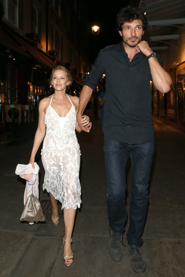 White Hot! Kylie Minogue Shows Off Amazing White Lace Dress on Dinner Date With Andres