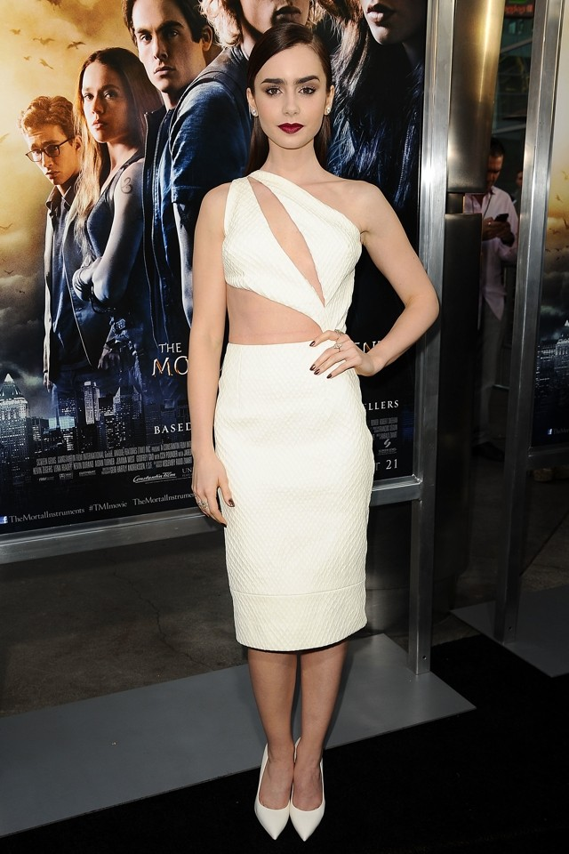 Heavenly! Lily Collins Is Stunning In White Cutout Dress At LA Premiere