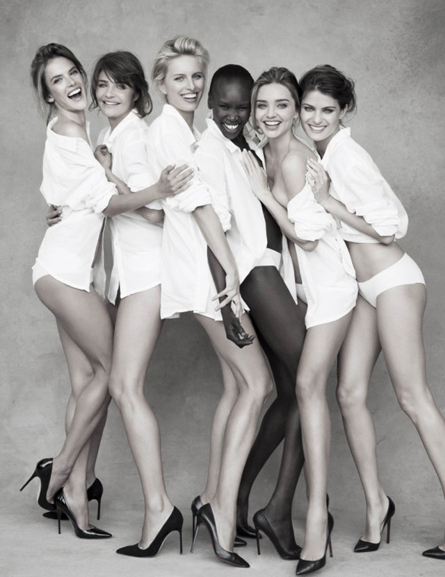 models pose for pirelli 2014 calendar