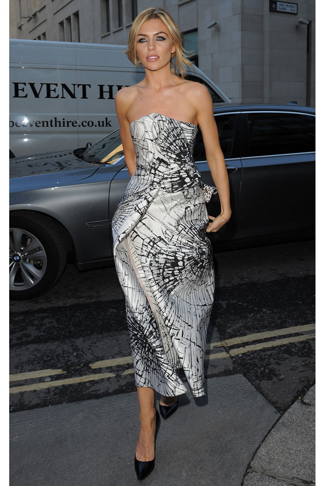 Abbey Clancy Dresses Up In Strapless Gown And Stilettos For Giles Show