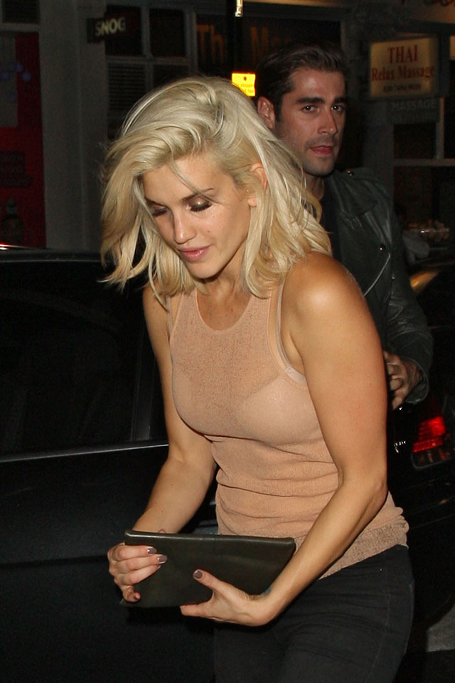 former pussycat doll ashley roberts stumbles out of night club