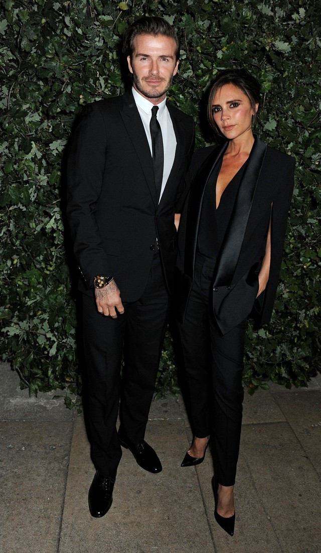 David And Victoria Beckham Do His 'N' Hers Suits At The Global Fund And British Council Party