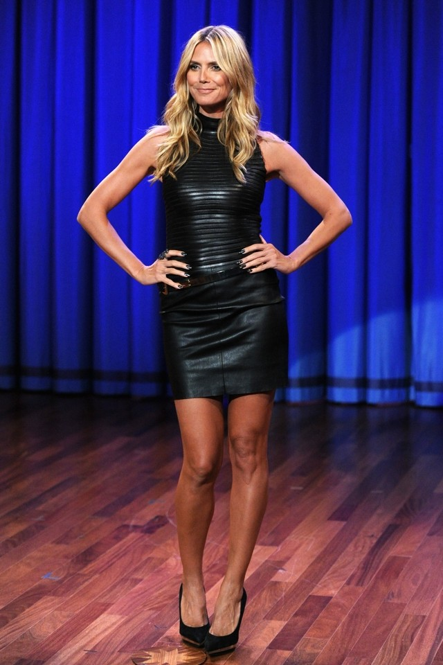 Heidi Klum WOWS In Leather Minidress On Late Night With Jimmy Fallon