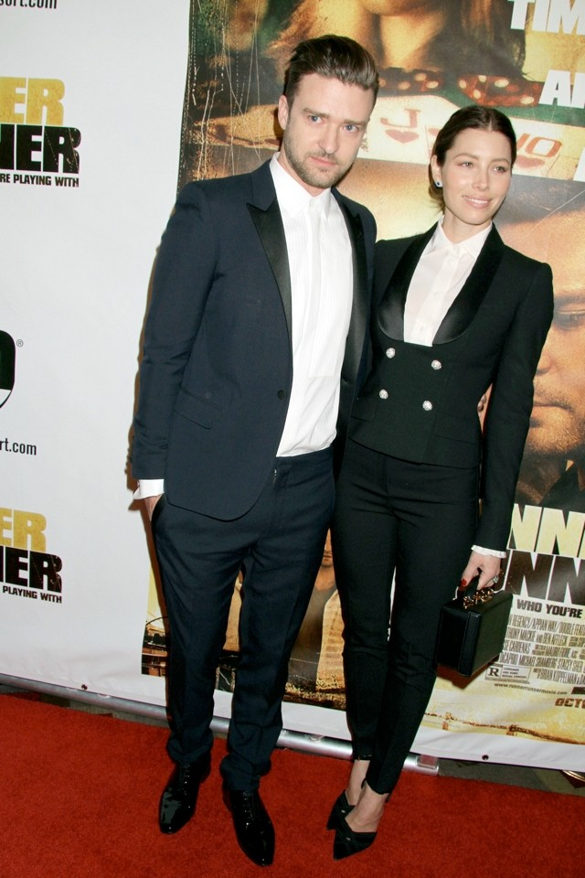 Matchy-Matchy! Justin And Jessica Do Co-Ordinated Suits At Runner Runner Premiere
