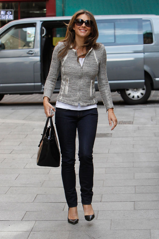 What Break-Up? Liz Hurley Dresses Down In Skinny Jeans And Boucle Jacket In London