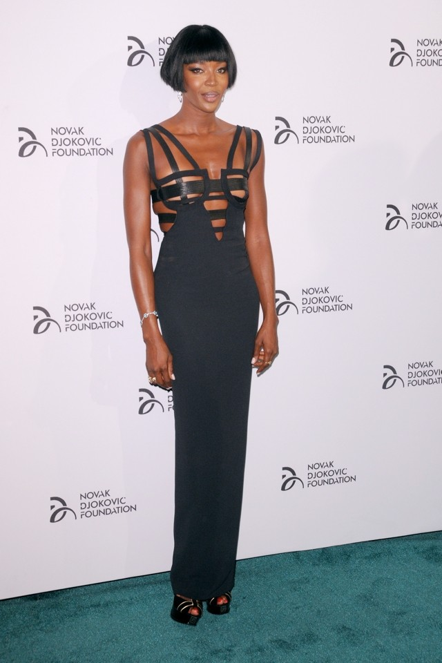 Woah! Naomi Campbell Does S&M-Inspired Dress For Novak Djokovic Foundation Dinner