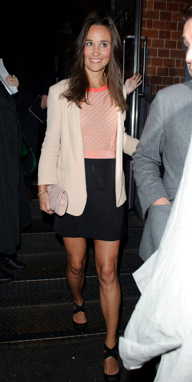 pippa middleton leaving the instagram party at jamie oliver's