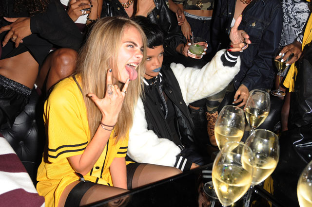 rihanna and cara delevingne party ahead of london fashion week