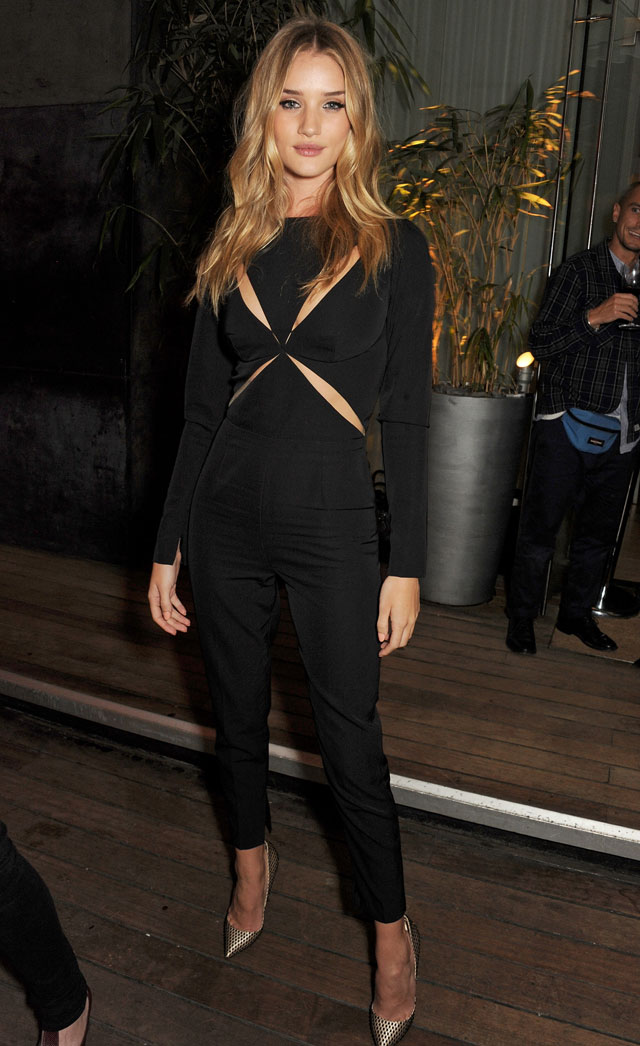 Rosie Huntington-Whiteley Sports Slinky Cut-Out Jumpsuit For Magazine Party