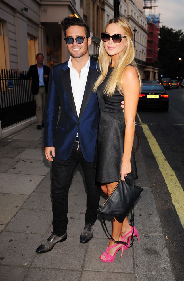stephanie pratt and spencer matthews at taylor morris launch