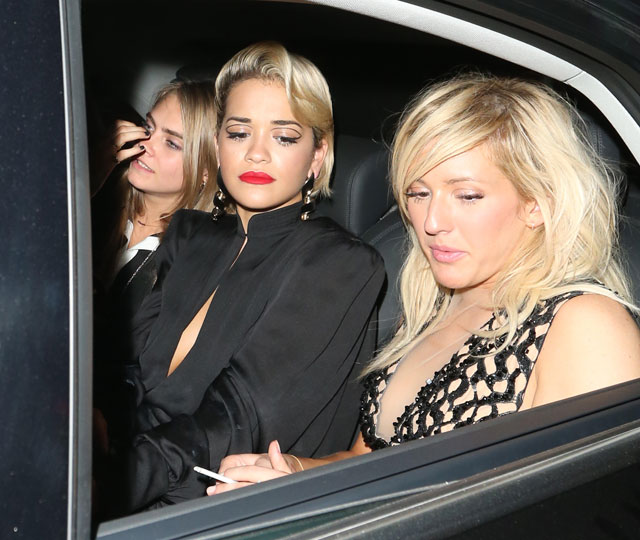 rita ora, cara delevingne and ellie goulding on night out in london