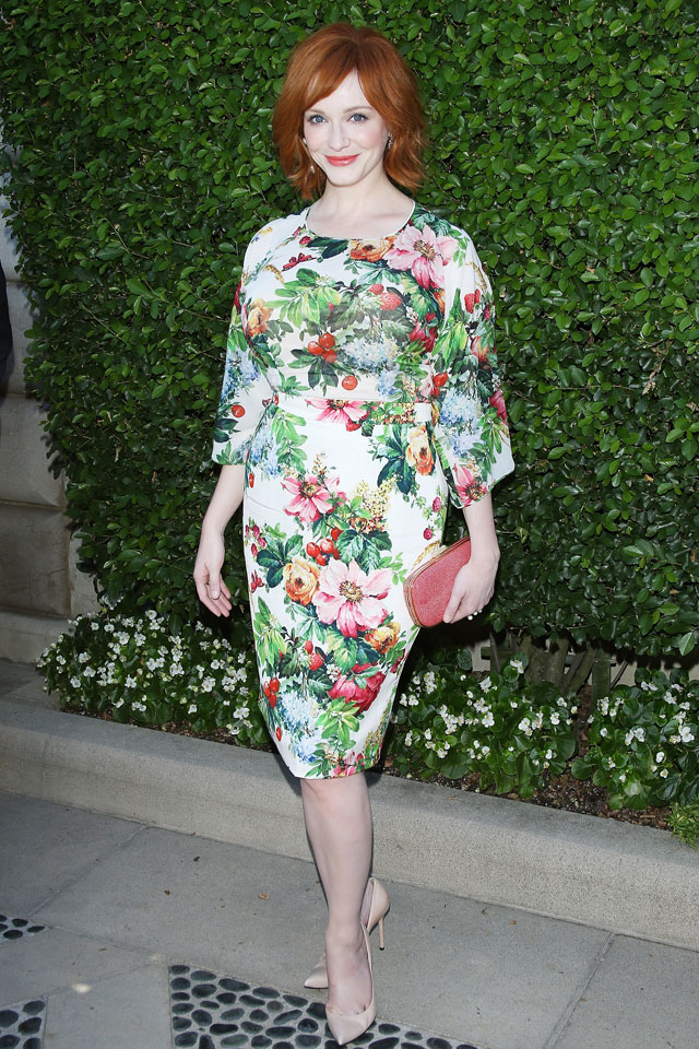 Blooming! Christina Hendricks Is Stunning In Floral Print Cocktail Dress