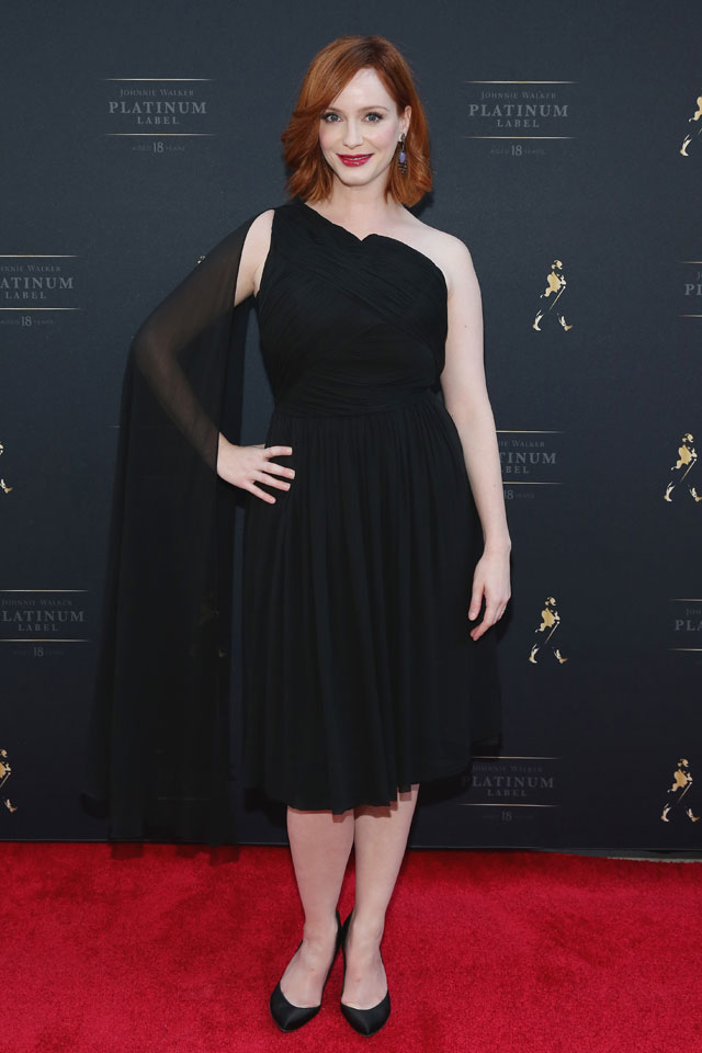 Total Elegance: Christina Hendricks Grecian Style LBD And Kitten Heels