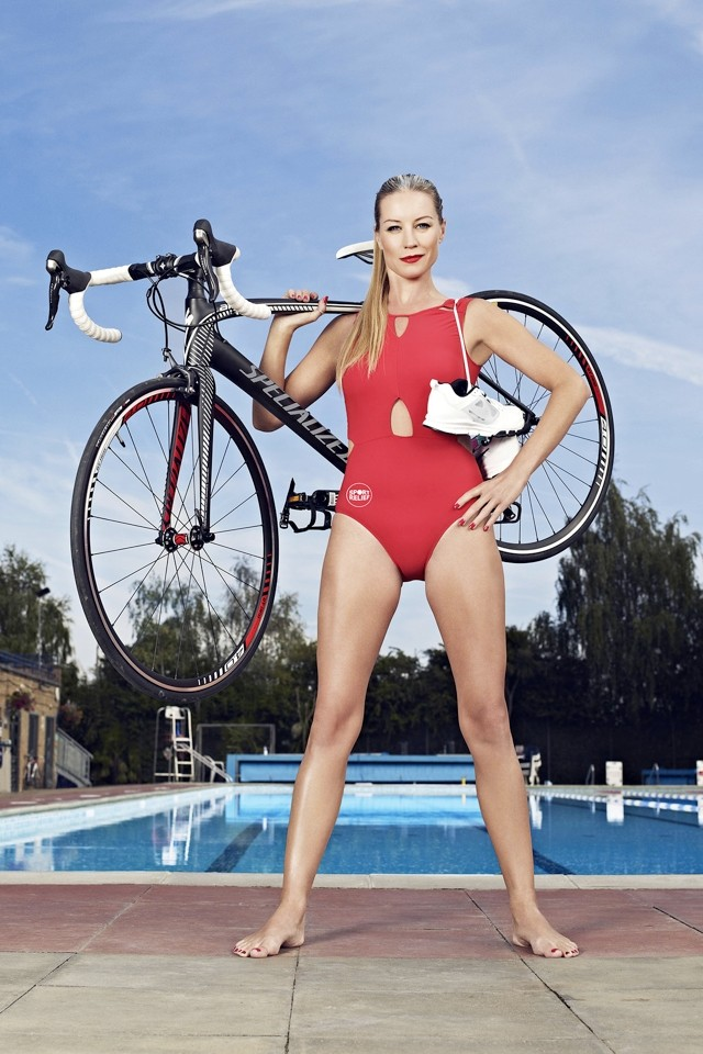 Denise Van Outen Launches First Sport Relief Games In Red Swimsuit