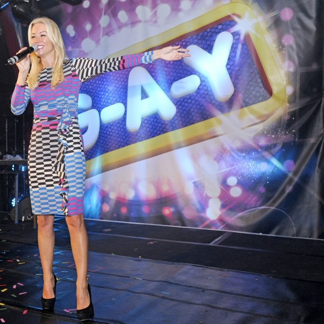 Denise Van Outen Gets Ruffled For GAY 20th Anniversary Album Launch