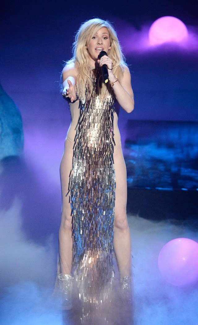 Ellie Goulding Steals The X Factor Show In VERY Daring Gold Dress