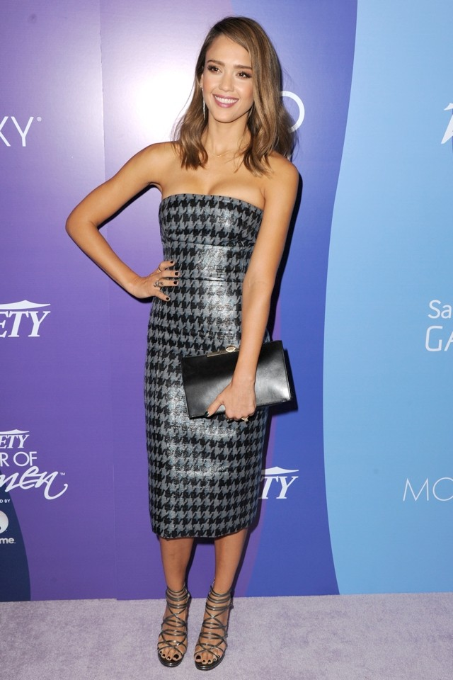 Cleavage Central! Jessica Alba Shows Off Her Curves In Sexy Houndstooth Dress