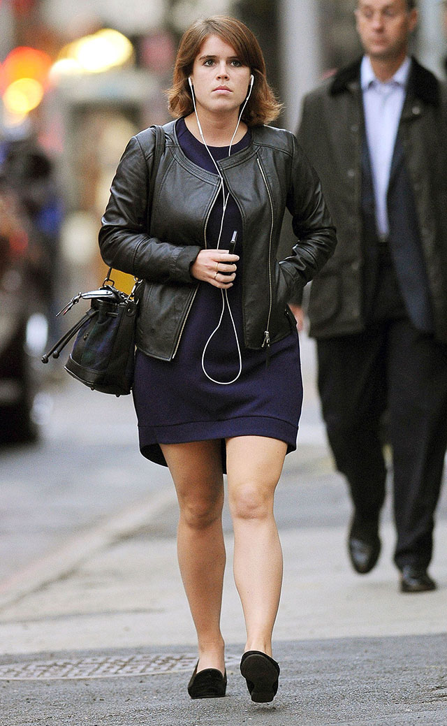 Princess Eugenie's New York Style: Biker Jacket And Short Shift Dress