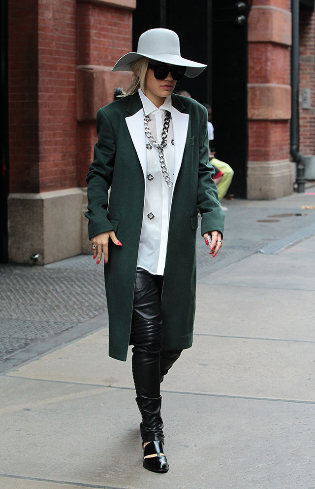 Rita Ora's Super Chic New York Style: Leather Trousers, Khaki Coat And Floppy Fedora