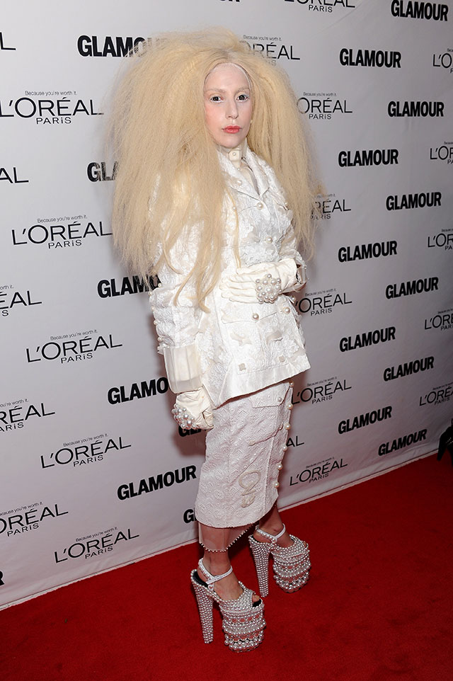 Lady Gaga Goes All-White With Huge Crimped Hair For Glamour Women Of The Year Awards