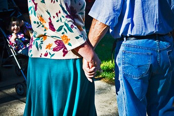 couple, older couple, hand holding