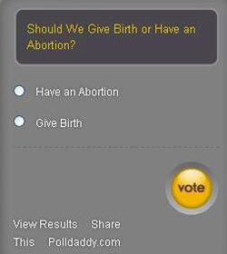 Abortion vote yes or no button