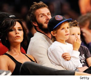 David Beckham and Victoria Beckham with sons Romeo and Cruz