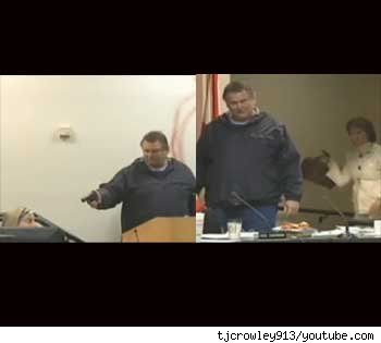 Clay Duke holding council at gun point (l); Ginger Littleton tries disarming gunman with handbag (r)