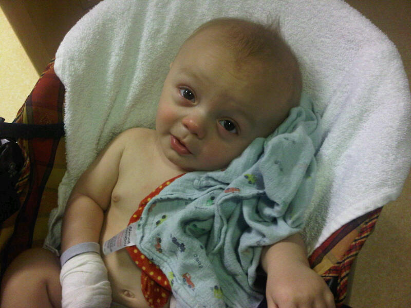 Baby Noah, ill with bronchiolitis