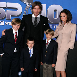 Victoria and David Beckham and boys