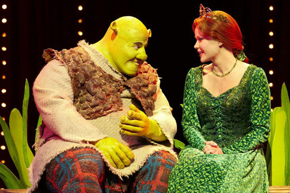 Shrek and Fiona share a tender moment