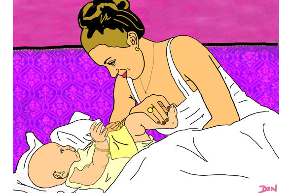 Illustration of bride and baby