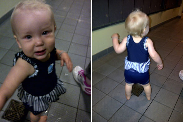 Baby Diana in swimming costume ready for her swimming lessons