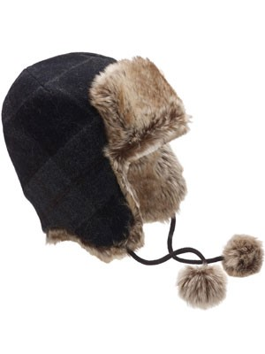 Monsoon Boy Check Fur Hat