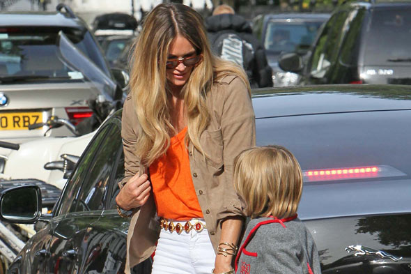 Elle Macpherson at the school gates with son